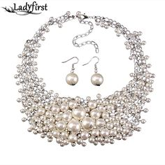 Multi-layer Simulated-pearl Necklaces Pendants Statement Necklace Earring Jewelry 2405