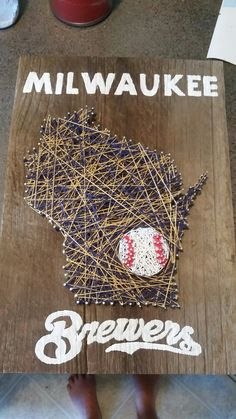 Milwaukee Brewers antique barn board nail and string project.