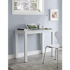 Parsons White Wooden Desk with Chevron Top- Overstock