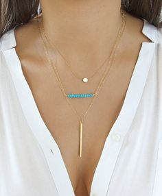 Dainty Layering Necklaces, Gold Tiny Dot Necklace, Beaded Turquoise Necklace And Vertical Gold Bar Necklace, Layered Gold Chain Necklace