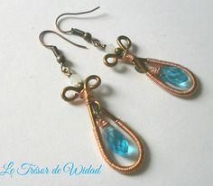 Boucles d'oreilles goutte fil aluminium cuivre, perle bleu verre bohème goutte : Boucles d'oreille par le-tresor-de-widad