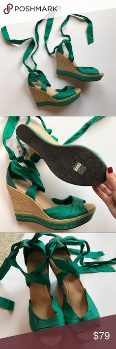 """Ugg Lucianna Espadrilles Wedge Sandals Emerald green silk laces and jute wrapped heel. Super cute and perfect for summer. In excellent condition, they look almost new except for the wrinkling to the silk ties. Approx. heel height: 4 1/2"""" with 1 1/2"""" platform (comparable to a 3"""" heel). Silk upper and lining/rubber sole. UGG Shoes Wedges"""