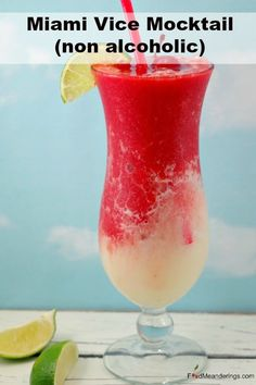 Half Strawberry Daiquiri and half Pina Colada, this delicious, frozen drink hybrid know as a Miami Vice Mocktail is a delicious non alcoholic version of the favorite Miami Vice cocktail. It' s a cool and refreshing summer drink! Mocktail Drinks, Drink Recipes Nonalcoholic, Non Alcoholic Cocktails, Summer Drink Recipes, Pina Colada Recipe Non Alcoholic, Alcoholic Desserts, Christmas Mocktails, Mocktails For Kids, Frozen Drink Recipes