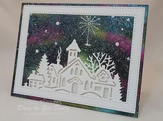 Northern Lights Village by - Cards and Paper Crafts at Splitcoaststampers Die Cut Christmas Cards, Beautiful Christmas Cards, Christmas Scenes, Xmas Cards, Card Making Inspiration, Making Ideas, Stampin Up, Winter Cards, Christmas Projects