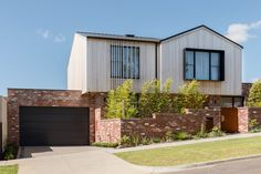 The Winton is yet another stylish, impeccably-constructed home by Orbis Constructions. Its inspired design and sustainably conscious efforts makes for the Brick Fence, Brick Facade, Facade House, Front Fence, House Exteriors, Wall Color Combination, Colour Combinations, Front Wall Design, Recycled Brick