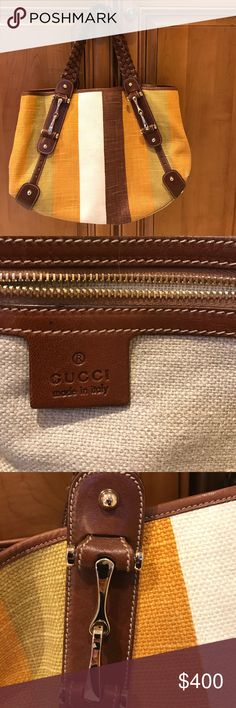 Authentic Gucci bag Authentic Gucci canvas leather striped tote shoulder bag. Leather braided shoulder straps, Zippered pocket inside, bag is in good condition. Comes in original dust cover.🌸🌸🌸💕💕👜👜bag has on lil pull on canvas,as shown in photo. ❤❤ Gucci Bags Totes