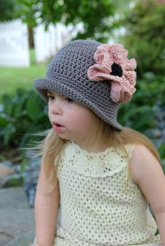 Grey Cloche Hat with Pink Poppy Gatsby Style by AnExtraBlessing