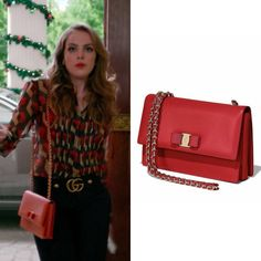 "Fallon Carrington wears this Salvatore Ferragamo ""Ginny"" medium Vara"" red leather flap bag on Dynasty 1x09"