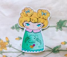 Tender Chibi Doll Skull Dress Hand Cut Sticker $2.50 Shipping: $1 from United States