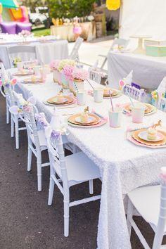 Guest table from a Magical Unicorn Birthday Party on Kara's Party Ideas | KarasPartyIdeas.com (33)