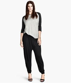 Harem pants in soft jersey with wide elasticized waistband and elasticized hems. ONLINE EXCLUSIVE. $17.95