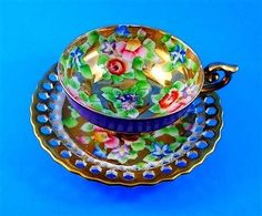 Japan tea cup - florals on gold