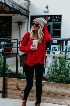 Chic And Comfy Winter Outfit Ideas You Must Copy For The Holiday Season; New Year Outfits; Christmas And New Year Outfits; Red Top Outfit, Red And Black Outfits, Fall Winter Outfits, Autumn Winter Fashion, Cute Christmas Outfits, Christmas Outfit Women, Holiday Outfits, Christmas Christmas, Christmas Sweaters