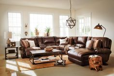 brown leather sectional living room