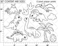 Dinosaurs Digital stamps by pixelpaperprints on Etsy