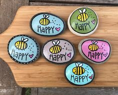 Another swarm. Stone Crafts, Rock Crafts, Diy Arts And Crafts, Diy Crafts, Happy Rock, Bee Happy, Pebble Painting, Pebble Art, Stone Painting