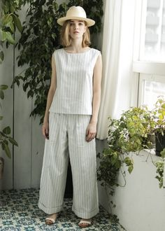 Emma STRIPE WIDE PANTS - STYLE BAR