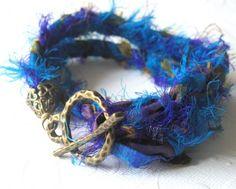 Sari silk fashioned into  hand made  bracelet.