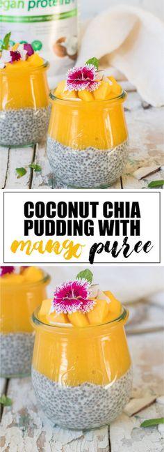Choosingchia.com-These coconut chia pudding cups with mango puree make a healthy tropical snack or dessert! (Vegan+ gluten-free)