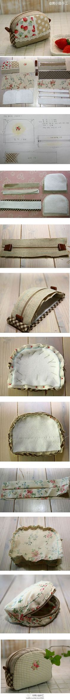 Pouch tutorial, sewing tutorial, makeup bag, sewing bag