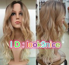 If you buy the wig, we will give you a wig cap hairnet as gift. I believe you are friendly and sincere friends! Natural Hair Wigs, Natural Hair Styles, Long Hair Styles, Brown Blonde Hair, Golden Blonde, Long Wavy Hair, Long Curly, Blonde Lace Front Wigs, Womens Wigs