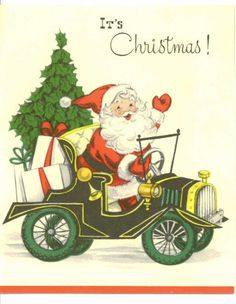 Vintage 1956 Christmas Card, Santa Claus in Car with Gifts and Tree