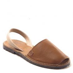 Sandales Menorquinas Popa Pobasic Cuoio en cuir marron, bout rond et ouvert