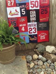 St Louis Cardinal baseball t-shirt quilt. Mosaic style