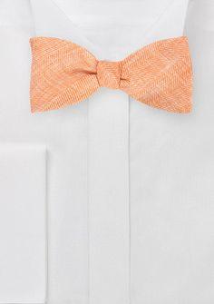 Textured Tangerine Bow Tie  - Tangerine Groomsmen Bow Tie