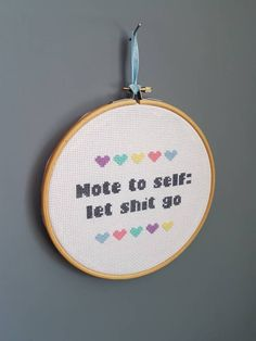 cross stitch hoop | cross stitch art | let shit go | quote | quote cross stitch | embroidery art | gift | glitter | pastel | hearts by StitchSlayer on Etsy https://www.etsy.com/uk/listing/512898182/cross-stitch-hoop-cross-stitch-art-let #crossstitch