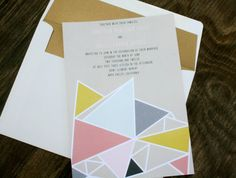 so into these geometric wedding invitations. made in athens.