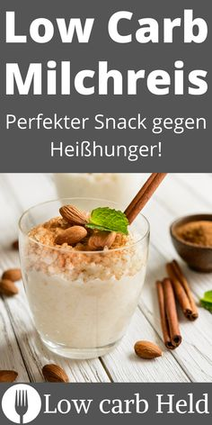 Hmm...super lecker! Dieser Low Carb Milchreis schmeckt himmlisch! Low Carb Desserts, Super, Breakfast, Food, How To Lose Weight, Healthy Nutrition, Food Portions, Breakfast Cafe, Essen