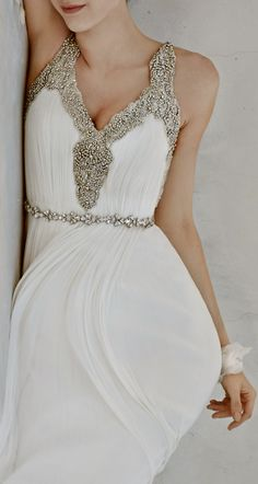 I like this style for a bridesmaids dress (obviously in a different color) instead of a wedding dress Bridal Gowns, Wedding Gowns, Wedding Bands, Prom Dresses, Formal Dresses, Dress Prom, Beaded Gown, Beautiful Gowns, Dream Dress