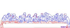 Leonardo Da Vinci The Last Supper Coloring Page preschool classical art. Perfect for Easter! The Last Supper Tattoo, Last Supper Art, Jesus Last Supper, Dibujos Tattoo, Desenho Tattoo, Jesus Drawings, Wall Clock Sticker, Folk Art Flowers, Jesus Painting