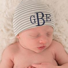 be5d9abb6df4a Monogrammed Grey and White Striped Personalized Newborn BOY hospital baby  hat