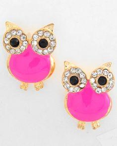 Neon Pink Owl Stud Earrings