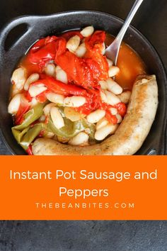 This Instant Pot sausage and peppers with white beans recipe is a quick and easy pressure cooker meal. The white beans help to stretch ingredients and act as a substitute for an overload of meat. It's fresh and tangy and perfect with fresh Italian bread or pasta. Italian | Tasty | Instant Pot | Yummy | Sausage And Peppers, Stuffed Peppers, White Bean Recipes, Best Instant Pot Recipe, Italian Bread, White Beans, Pressure Cooker Recipes, Soups And Stews, Italian Recipes