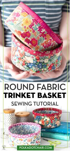 Create these cute round trinket baskets from fabric with our free sewing pattern and tutorial. Learn how to make small round fabric baskets with our free sewing pattern. Cute DIY trinket baskets with Liberty of London Fabric. Cute Sewing Projects, Sewing Projects For Beginners, Diy Craft Projects, Sewing Tutorials, Sewing Hacks, Sewing Tips, Dress Tutorials, Sewing Ideas, Project Ideas