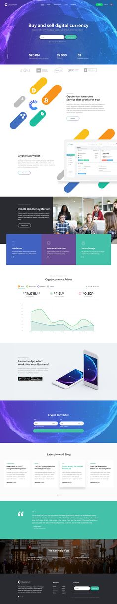 Flexible, Dynamic, Trustworthy! Crypterium – ICO landing page and Cryptocurrency PSD Template for crypto business. Crypterium landing pages template included...
