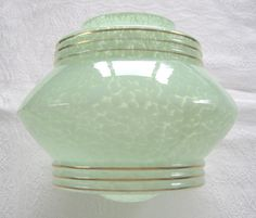 Art Deco large globe-type lampshade in green flake glass with gilt banding, c.1930s (SOLD) - www.vanishederas.com