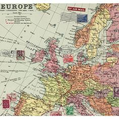 5 sheets of wrapping paper vintage world map design 695 vintage inspired map wrapping paper gumiabroncs Choice Image