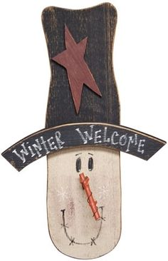 Christmas : Winter Welcome Snowman Head Wall Decor
