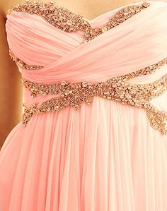 dress rose gold pink chiffon strapless pretty gold prom homecoming prom dress clothes peach jewel flowy airy sparkle bodice sparkles light pink dress bridesmade bridesmaid gold detail beading empire w Grad Dresses, Homecoming Dresses, Formal Dresses, Prom Dress, Bridesmaid Dresses, Gold Bridesmaids, Evening Dresses, Dress Long, Long Dresses