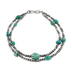 Antique Tibetan Turquoise Sterling Silver NECKLACE 2 Strand from New World Gems