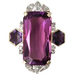 21.82Ct Amethyst 1.59Ct Diamond, 18k Yellow Gold Dress Ring Vintage ($5,440) ❤ liked on Polyvore featuring jewelry, rings, vintage gold rings, 18k diamond ring, yellow gold amethyst ring, 18k ring and gold ring