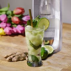Recette : Sodastream Canada Ginger Ale, Fresh Ginger, Mojito, Beverages, Drinks, Chimichurri, Fresh Mint, Vegan Vegetarian, Juice