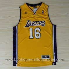 maillot nba pas cher Los Angeles Lakers Gasol #16 Jaune nouveaux tissu 22,99€
