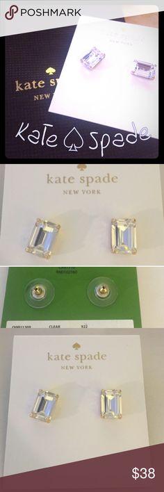 Kate♠️Spade Emerald Cut Diamond Stud Ear Rings 🆕Kate♠️Spade Emerald Cut Diamond Stud Ear Rings. 🆕 in original cloth bag & Kate Spade Box 🎉 kate spade Jewelry Earrings