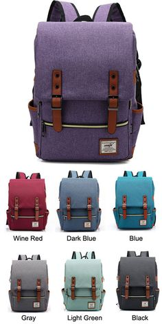 Which color do you like? I want to ordered it for my little sister! Retro Large Travel Backpack Leisure Leather Canvas Backpack Schoolbag #backpack #rucksack #leisure #bag #school #college #cute #canvas