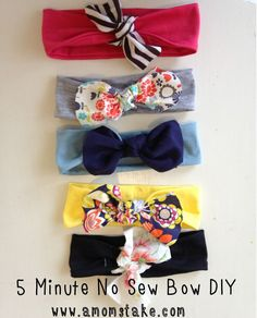 These DIY no-sew headbands are adorable for little girls and you can make them in less than 5 minutes!